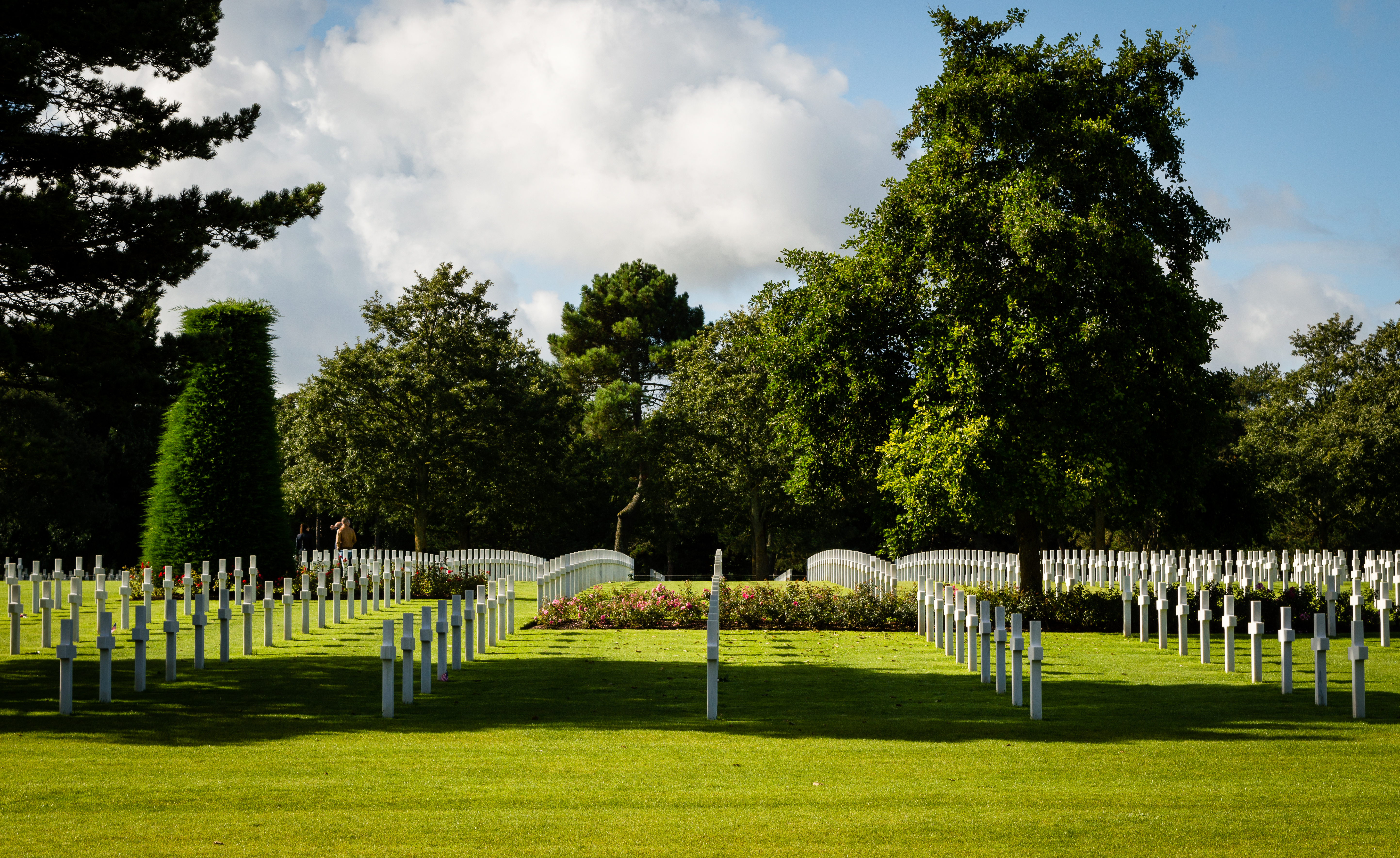 White crosses in American War Cemetery near Omaha Beach, Normandy (Colleville-sur-Mer), France